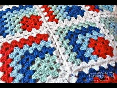 Crochet Tutorial - How to crochet & joint Mitered Granny Square - Blanket.Afghan.Throw Crochet
