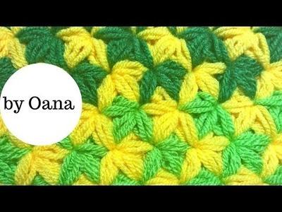 Crochet two color jasmin stitch