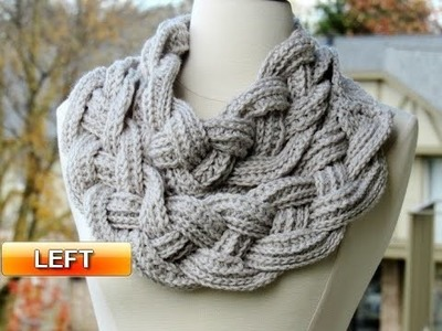 Double Layered Braided Cowl - Left Handed Crochet Tutorial 1
