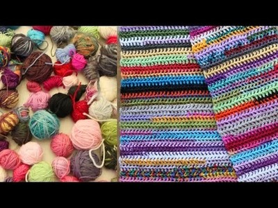 Easy scrap yarn scarf or blanket, crochet tutorial