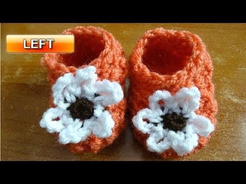 Glover Stitch Newborn Baby Booties - Left handed Crochet Tutorial