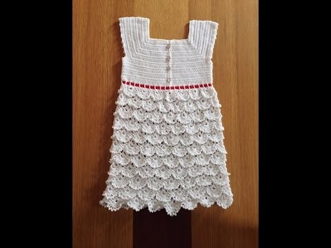 How to crochet a baby dress - Pattern 3 (1.2) (engsub)