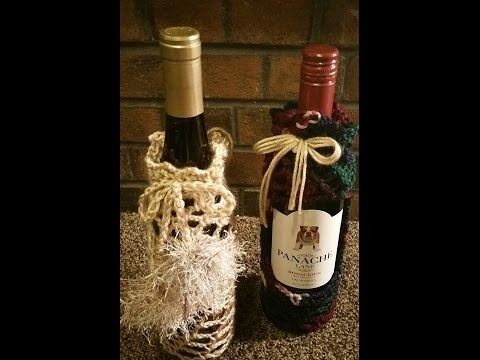 How to crochet a fishnet wine bottle koozie