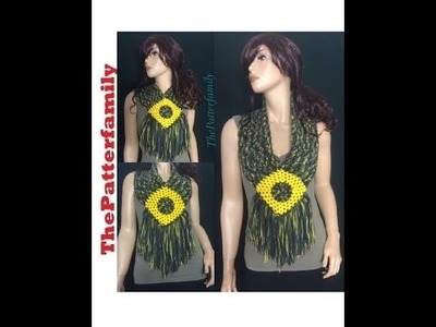 How to Crochet a Fringe Scarf. Cowl  Pattern #48│by ThePatterfamily