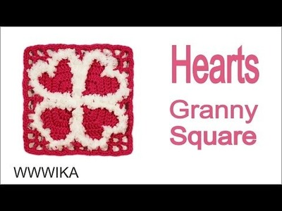 How to Crochet a Heart Granny Square pattern free tutorial  by WWWIKA