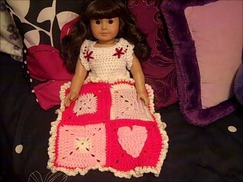 How to Crochet a Valentine's Blanket for Dolls - Happy Hearts Afghan