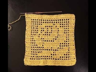 How to crochet  in filet - square with rose motif