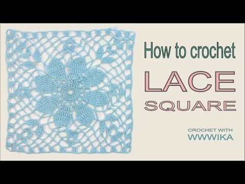 How to crochet square Lace square Free pattern tutorial PART 1