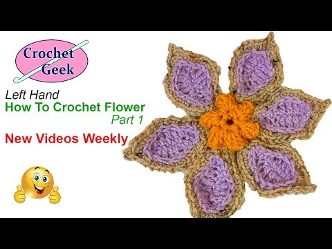 How to Make a Crochet Flower Tutorial part 1 Left Hand