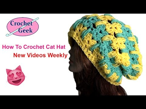 How to Make Crochet Cat Hat Tutorial Left Hand Part 3