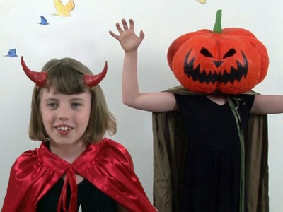 Art Lesson: How to make Devil Horns and a Pumpkin Mask for Halloween