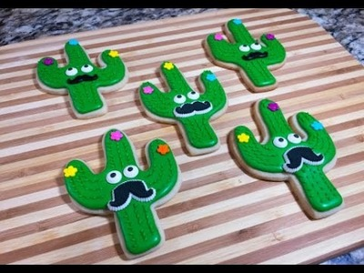 Cactus Cookies With Mustaches Fiesta Party(How To)