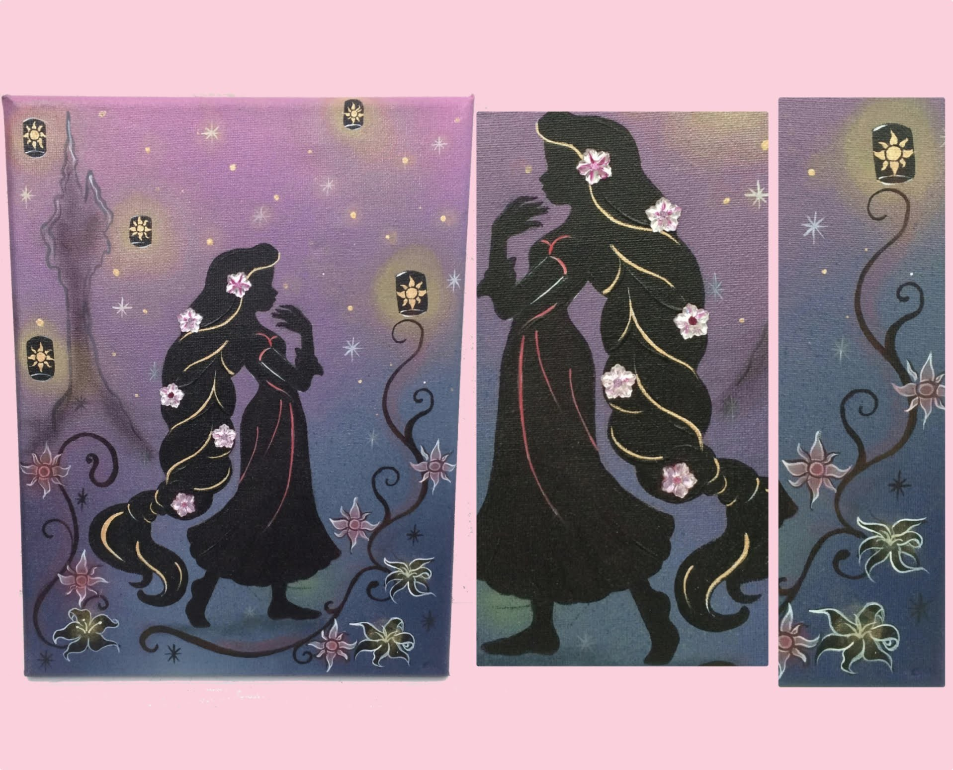 Disney art tutorial for beginners - How to make this Rapunzel.Tangled painting
