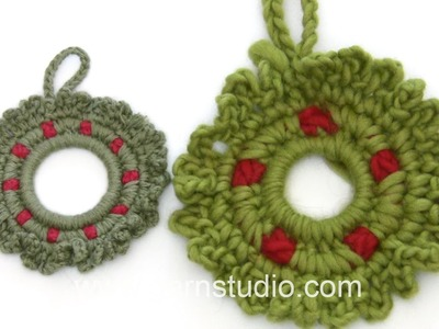 DROPS Crocheting  Tutorial: How to work a little Christmas wreath.