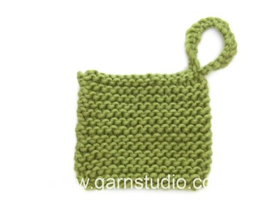 DROPS Knitting Tutorial: How to work loop to a pot holder