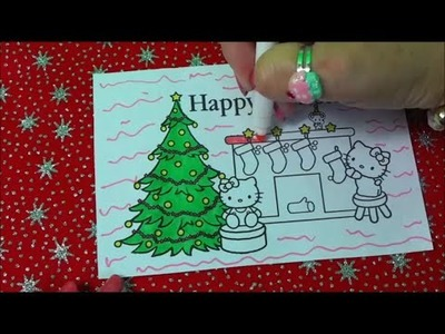 HOW TO COLOR HELLO KITTY CHRISTMAS SCENE