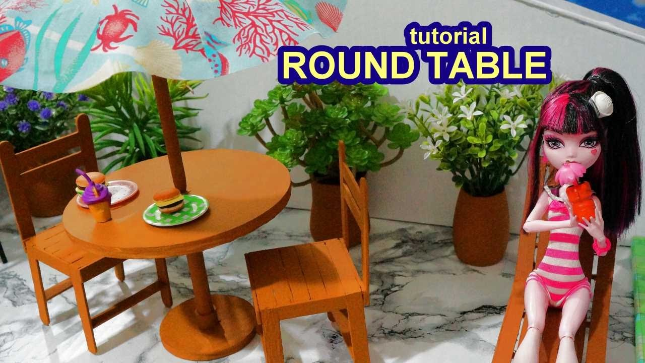 How to make a doll round table with parasol (sunshade) for Barbie, Monster High, Frozen, EAH, etc