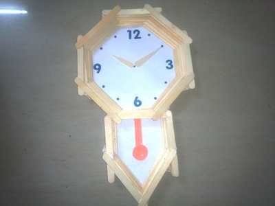 How to make pendulum wall clock with ice cream sticks - craft - school project for kids