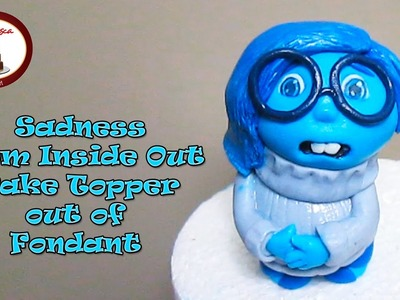 "How to make Sadness from ""Inside Out"" Disney out of fondant Cake Topper"