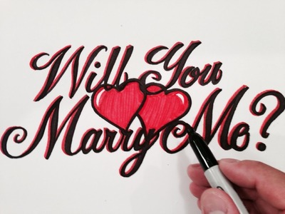 How to Write Will You Marry Me in Fancy Cursive with Hearts!