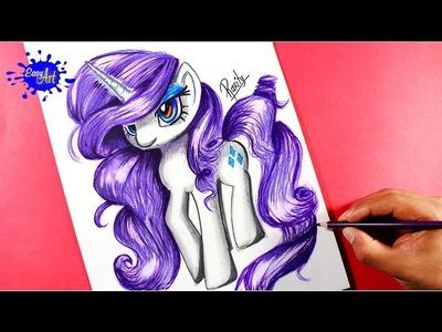 MY LITTLE PONY MLP- como dibujar a rarity- how to draw my little pony, how to draw rarity