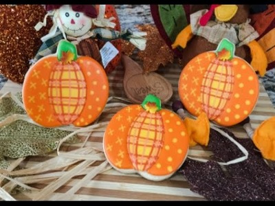 Quilted Pattern Pumpkin Cookies Fall.Thanksgiving(How To)