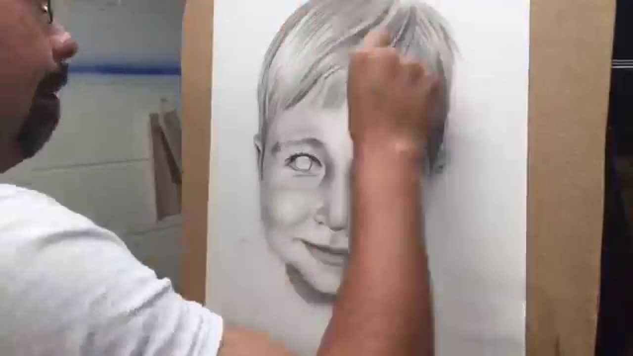 Speed paint how to black and white portrait with airbrush