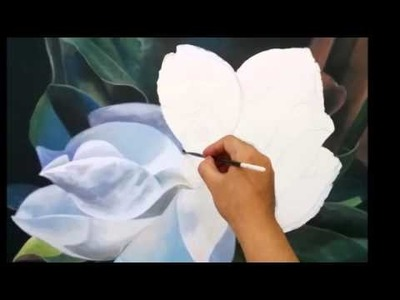 Step by step how to paint a magnolia flower in realistic