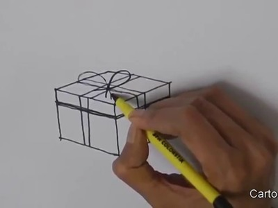 How To Draw A Gift Box.Christmas Present Box - in easy steps for children, kids, beginners