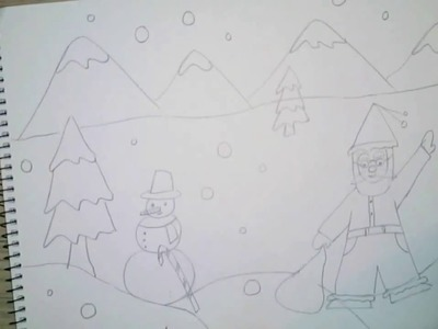 How to draw christmas scene for kids - Very easy