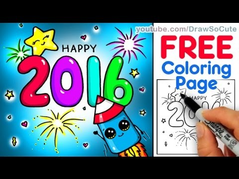How to Draw Happy New Year Celebration Card with Bubble Numbers step by step