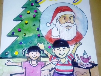 How to draw merry christmas drawing