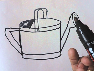How to draw plants water can drawing