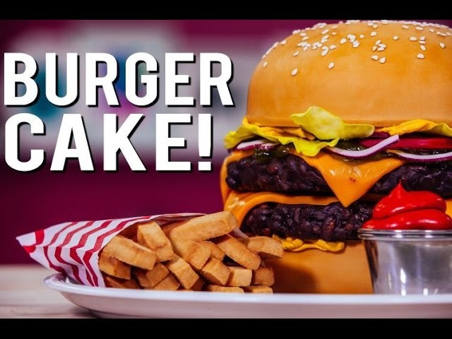 How To Make A CHEESEBURGER CAKE! With Chocolate Patties, Buttercream Mustard, and Candy Relish!