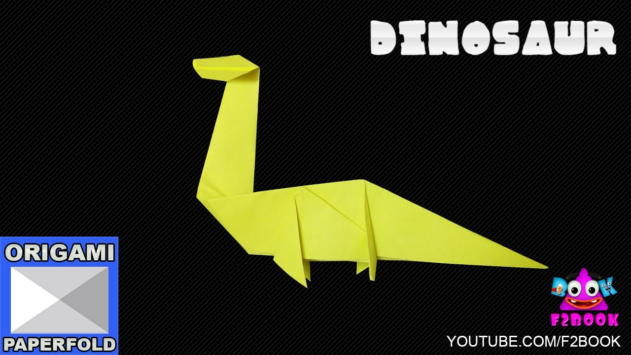 How to make an Easy Origami Dinosaur - How To Make Paper Craft F2BOOK Video 77