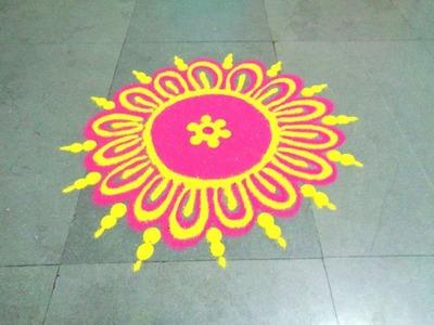 How to make beautiful flower latest rangoli
