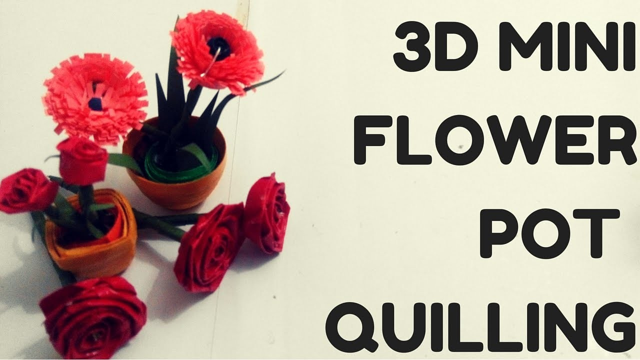 How to Make Mini Flower Pot 3D Paper Quilling Tutorial | #quilling AIOCraft#4