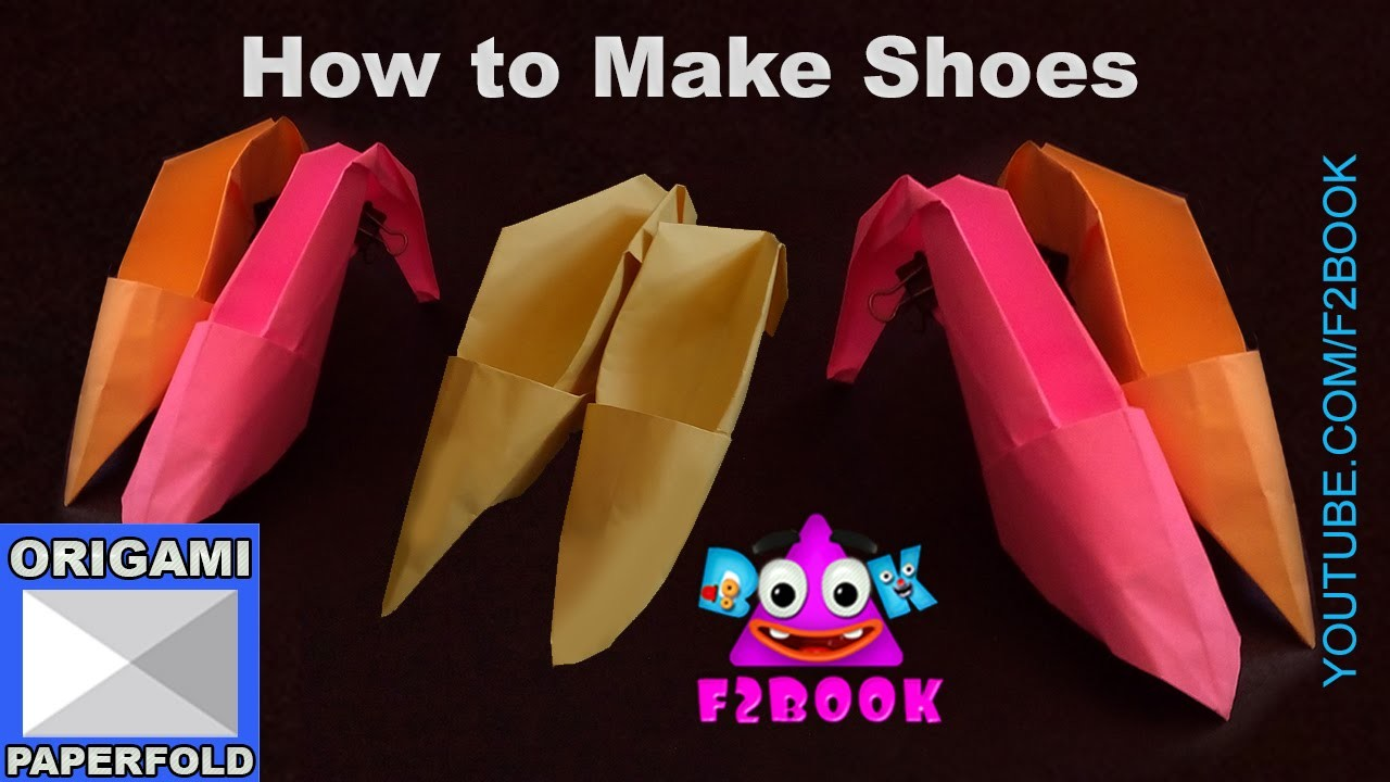 How to Make Paper Craft Shoes Origami -  Video 56 (f2book)