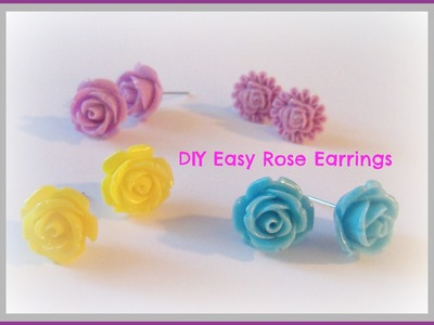 How to make rose cabochon earrings
