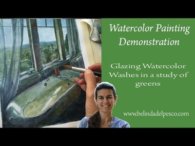 How to Paint Watercolor: Interior Scene with Windows & Water