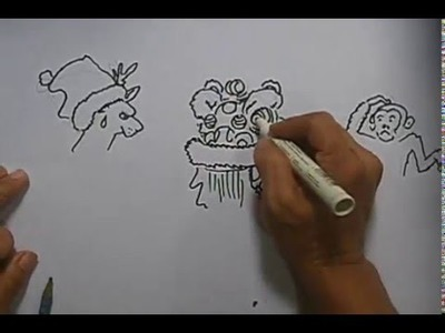 Lion Dance Drawing 13 How to make Season's Greeting card