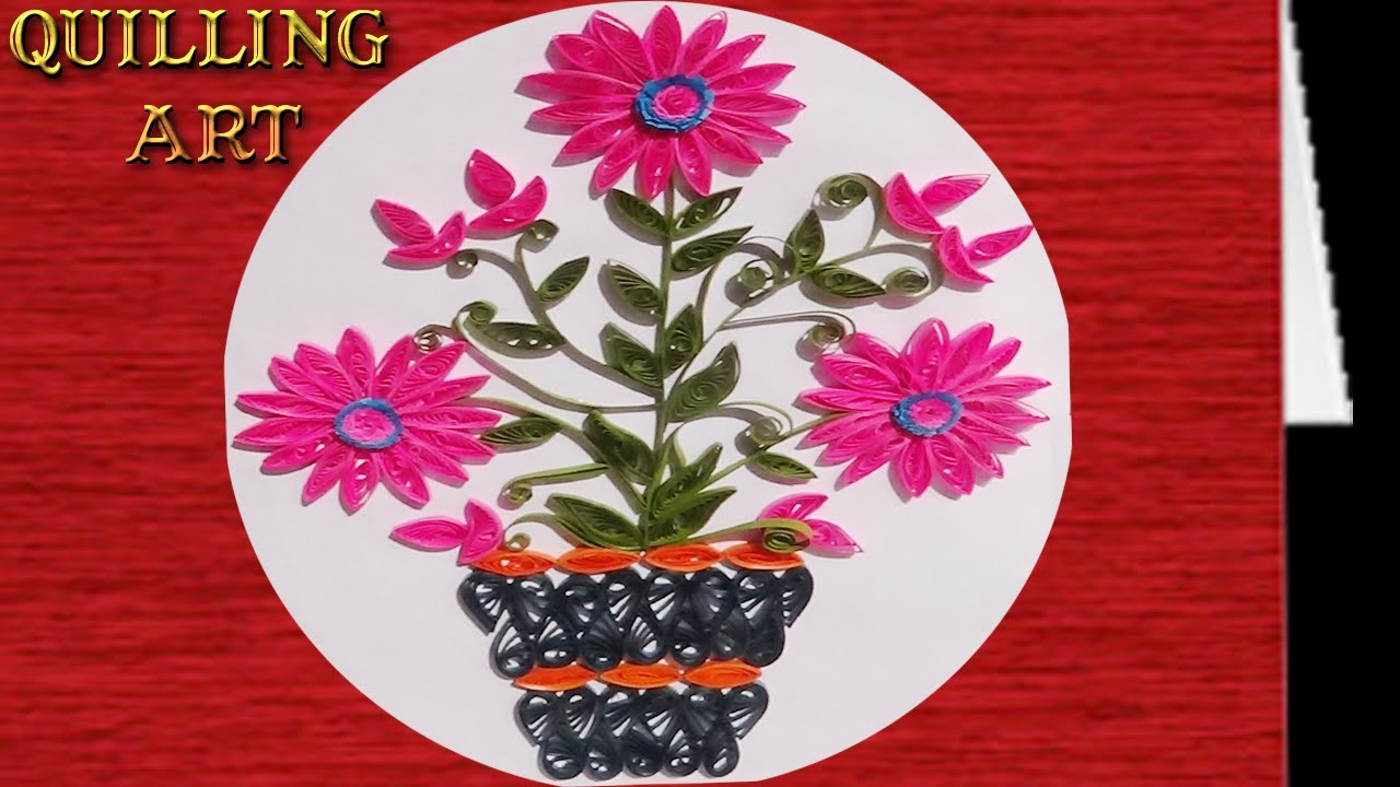 Paper Quilling : How to make pink colored flower plant design
