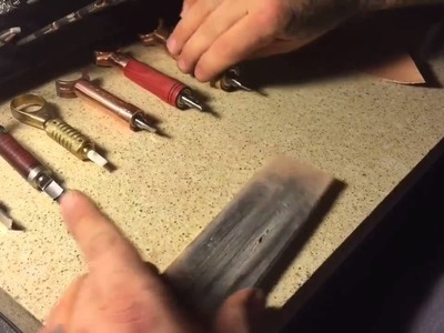 Swivel knife comparing cuts & showing how to strop