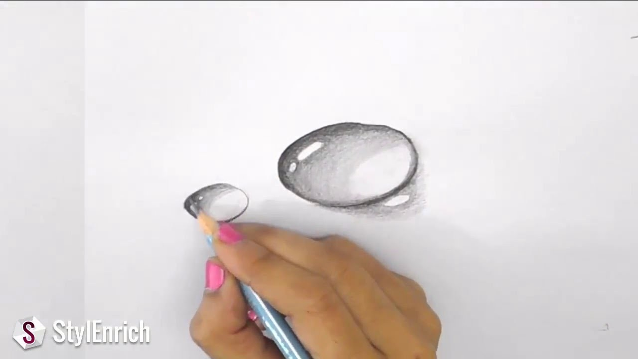 3D Drawing Art How To Draw Dew Drop On Leaf Easy Pencil Drawings My Crafts And DIY Projects