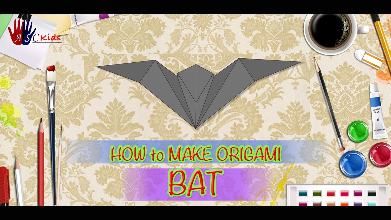 DIY - How To Make Origami Bat | Creative Origami Art Work | Easy Drawing Steps