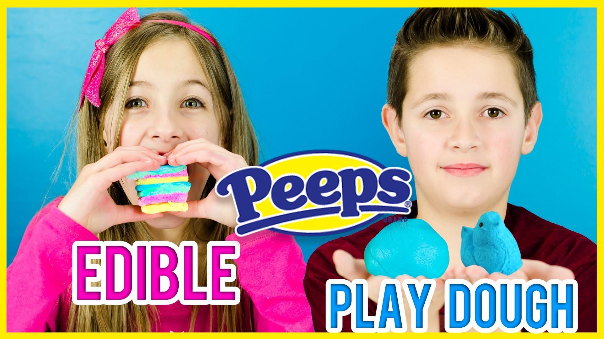 EDIBLE PEEPS PLAY DOUGH! PINTEREST DIY RECIPE TEST! HOW TO MAKE EDIBLE PLAY-DOH WITH PEEPS