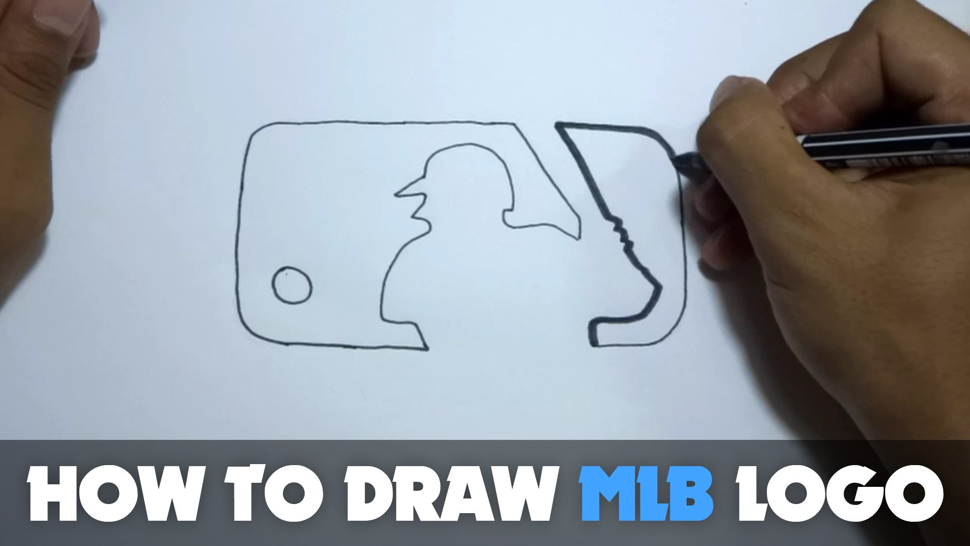 How to Draw a Cartoon - Major League Baseball Logo (Tutorial Step by Step)