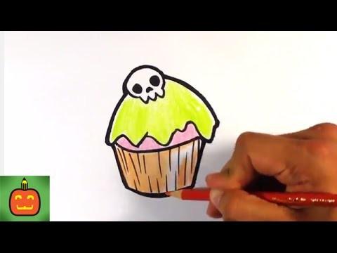 How to Draw a Halloween Cupcake - Halloween Drawings
