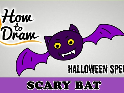 How To Draw A Scary Bat - Halloween Special - Easy Drawing Lesson With Colouring