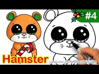How to Draw Beanie Boo Hamster Mouse Cute step by step Christmas Special